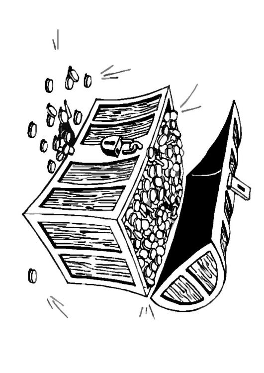 Coloring page treasure chest  img 9075