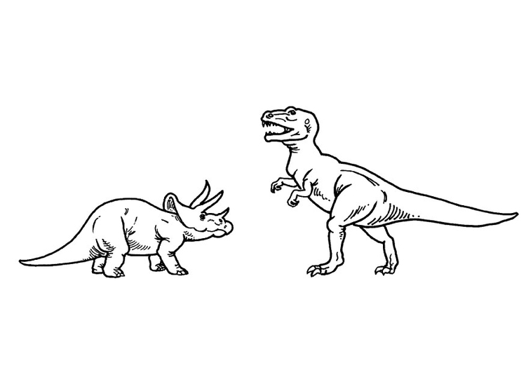 Coloring page triceratops and t-rex