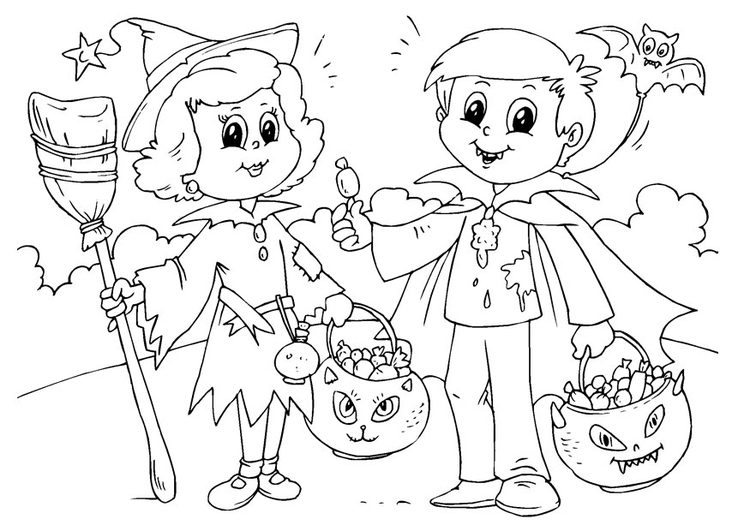 Coloring page trick or treat