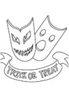Coloring page trick or treat masks
