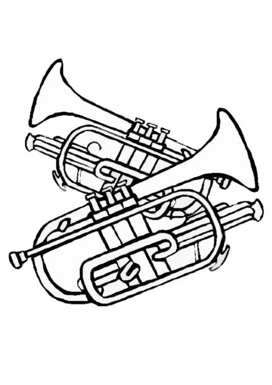 Coloring page trumpets
