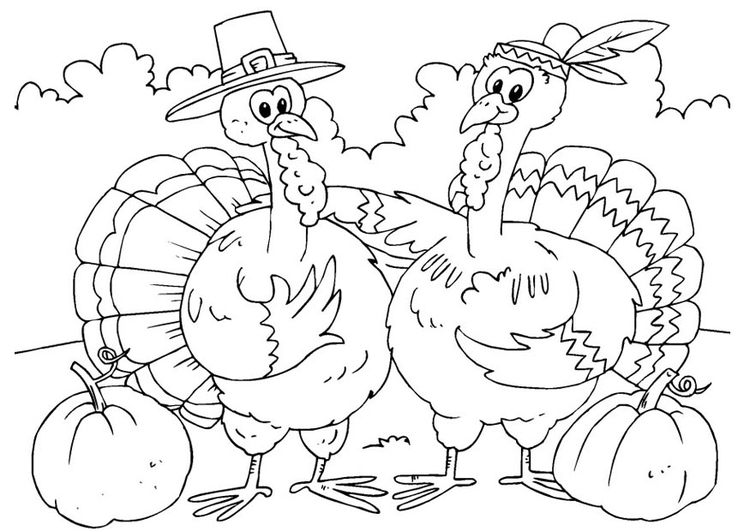 Coloring page turkeys