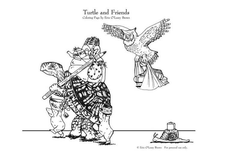 Coloring page turtle and friends