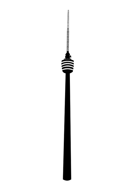 Coloring page TV tower Stuttgart