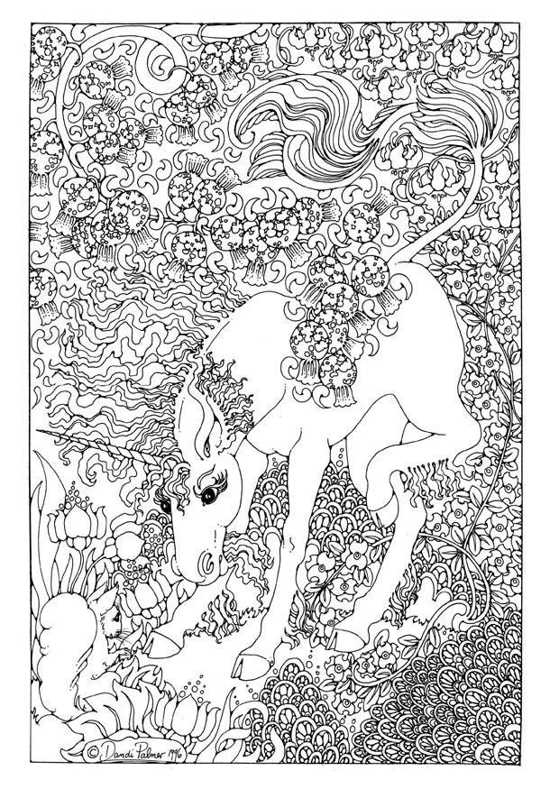 Coloring page Unicorn img 9209