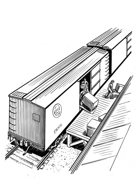 Coloring page unload train