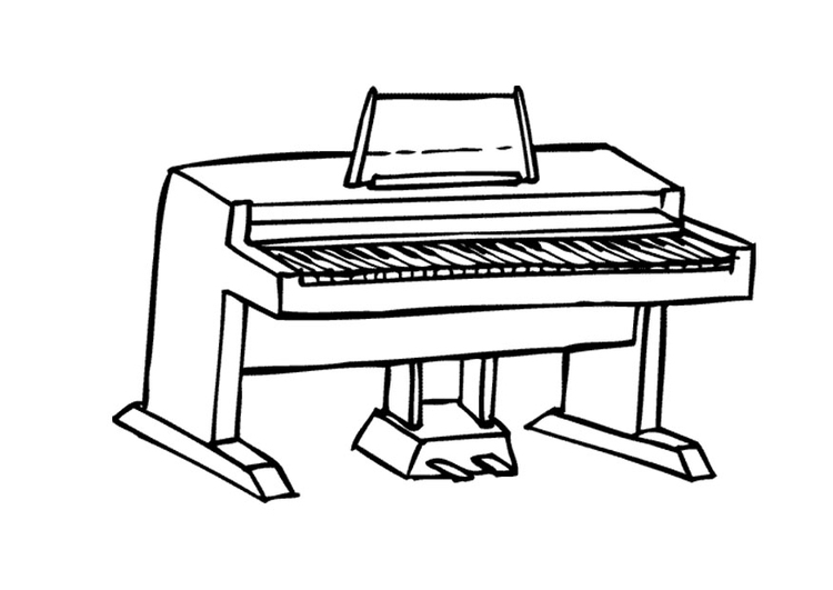 Coloring page upright piano