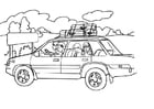 Coloring page vacation by car