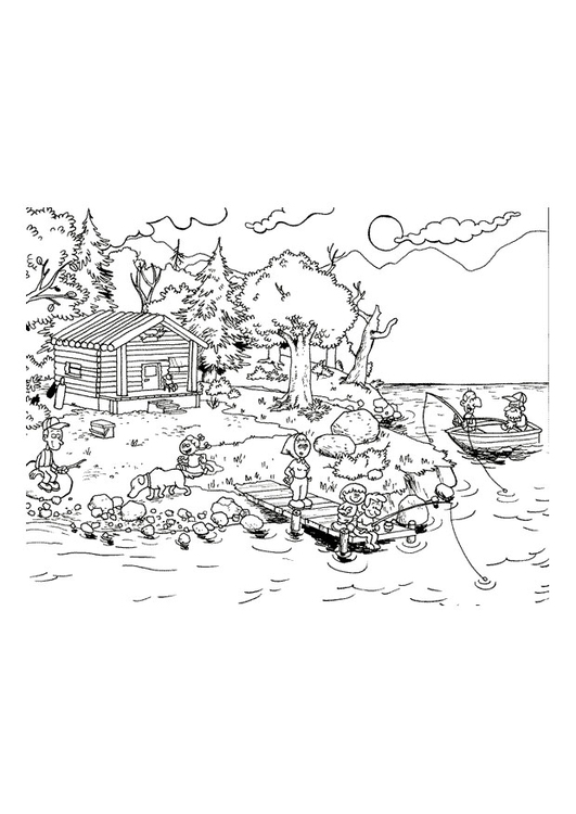 Coloring page vacation on the lake