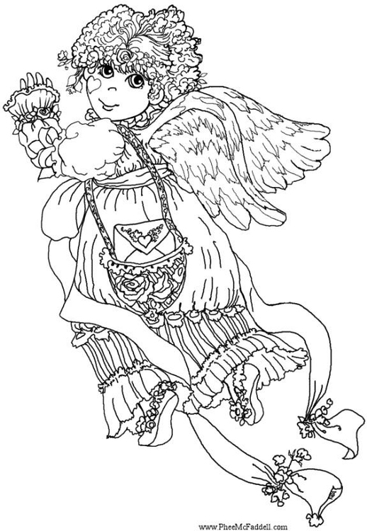 Coloring page Valentine angel