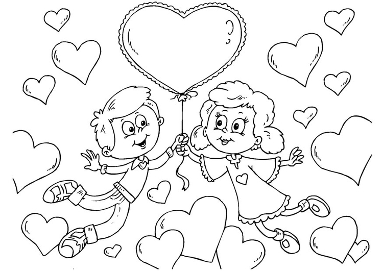 Coloring page Valentine children