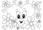 Coloring page Valentine flowers