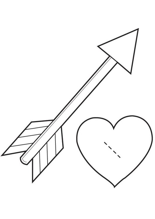 Coloring page Valentine heart - Cupido