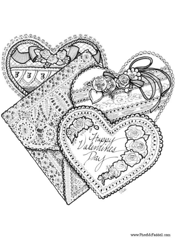 hearts pictures for valentine. Coloring page Valentine hearts
