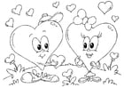 Coloring pages Valentine hearts