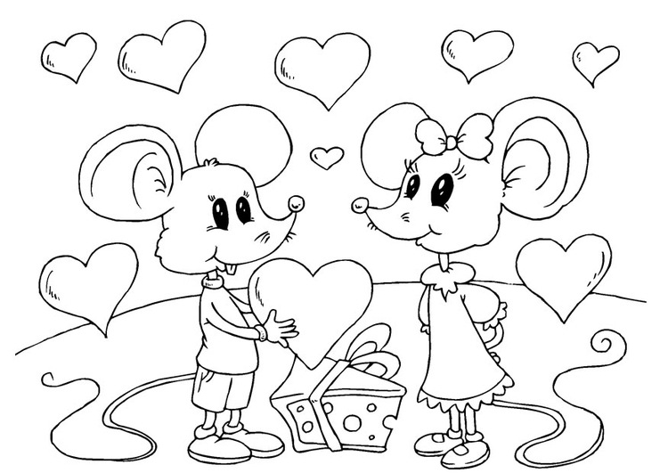 Coloring page Valentine mice