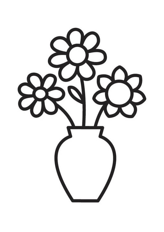 Coloring page Vase with flowers