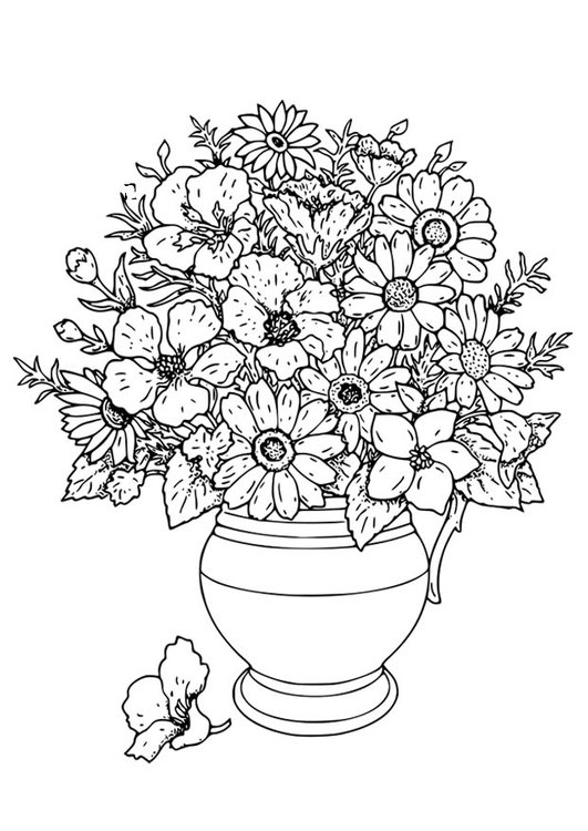 Coloring page Vase with wild flowers