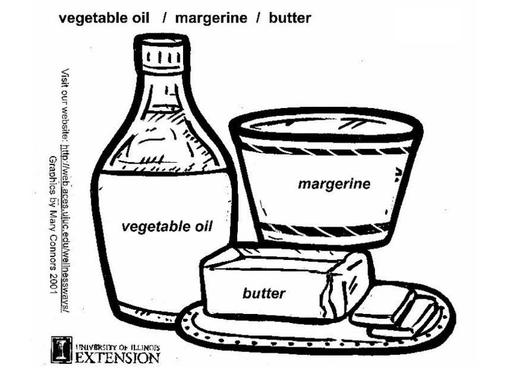 Coloring page vegetable oil, butter
