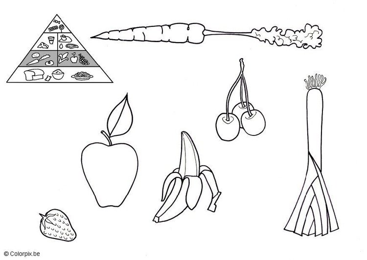 Coloring page vegetables and fruit