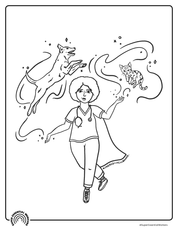 Coloring page veterinarian