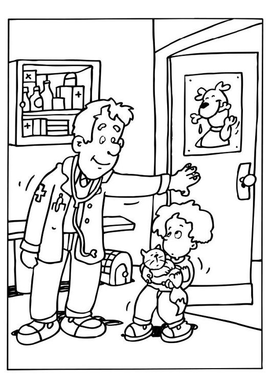 Coloring page veterinary surgeon