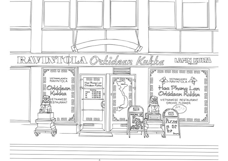 Coloring page Vietnamese restaurant