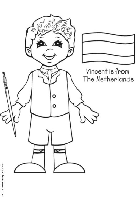 Coloring page Vincent from the Netherlands