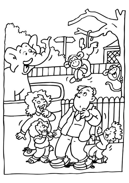 Coloring page visiting the zoo