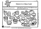 Coloring pages Vitamin A in food