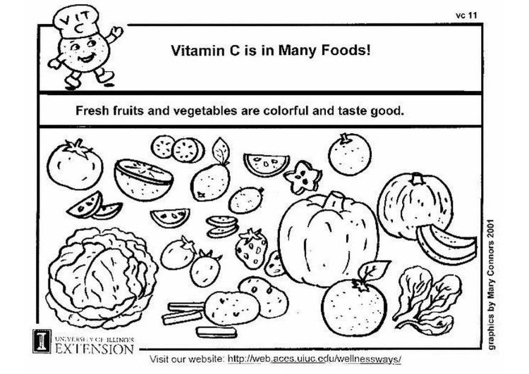 Coloring page Vitamin C in food