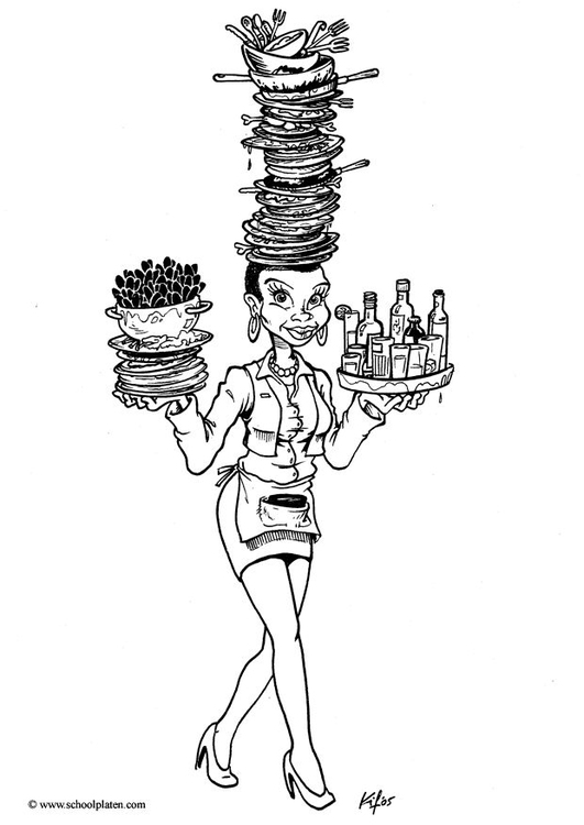 Coloring page waitress