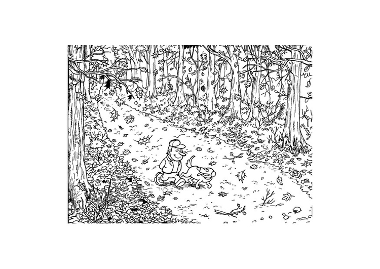 Coloring page walking through autumn leaves