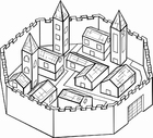 Coloring page walled city