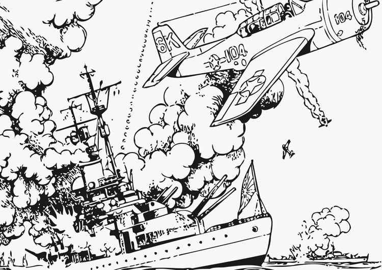 Coloring page War at Sea