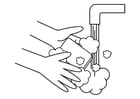 Coloring page wash hands