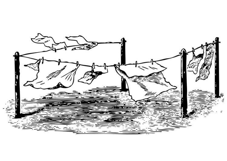 Coloring page washing line
