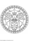 Coloring pages wasp mandala