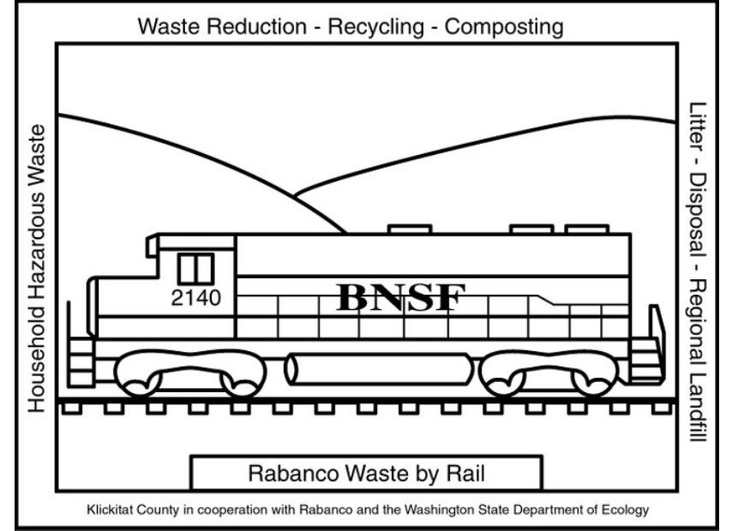 Coloring page waste container train