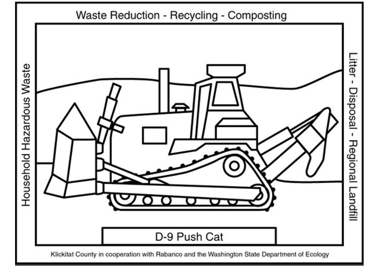 Coloring page waste management push cat