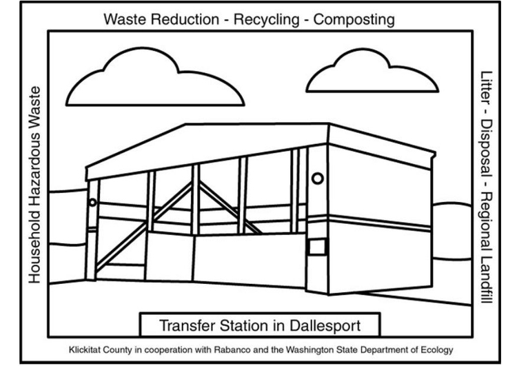 Coloring page waste transfer station