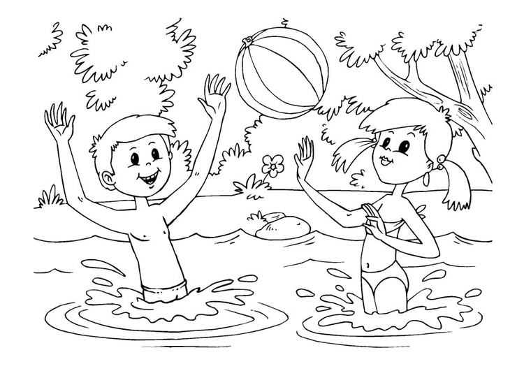 Coloring page water fun