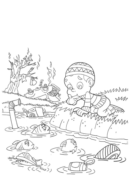 Coloring page water pollution