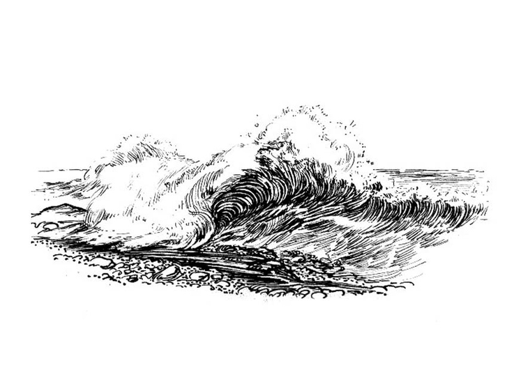 Coloring page wave - breaker