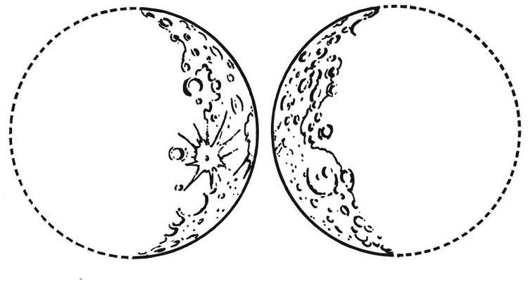Coloring page Waxing Moon and Waning Moon