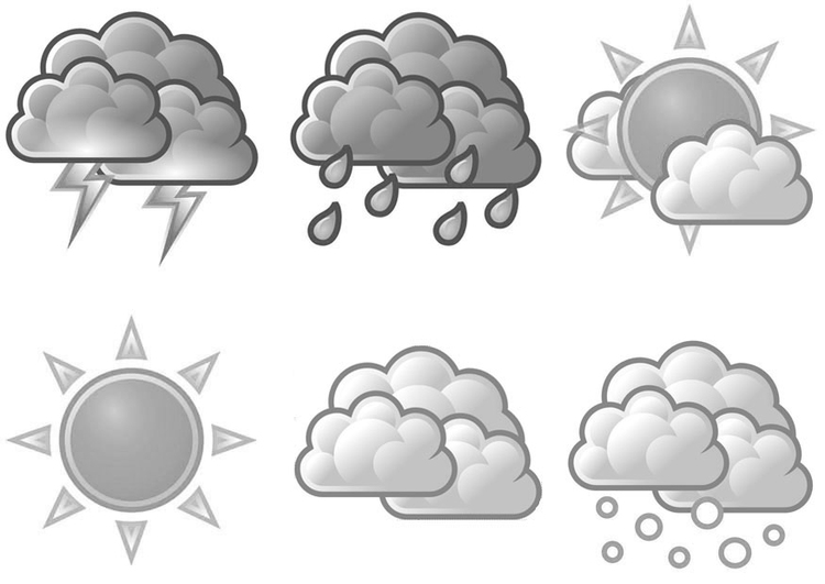Coloring page weather symbols
