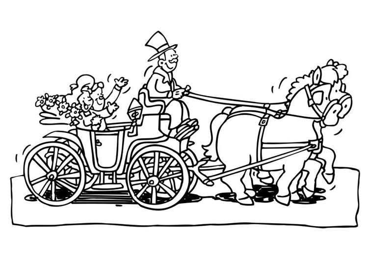 Coloring page wedding carriage