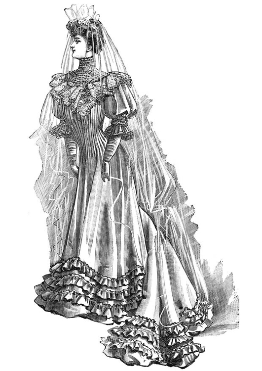 Coloring page Wedding Dress 1906