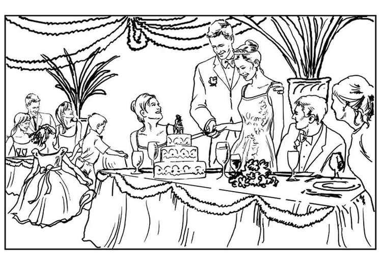 Coloring page wedding party