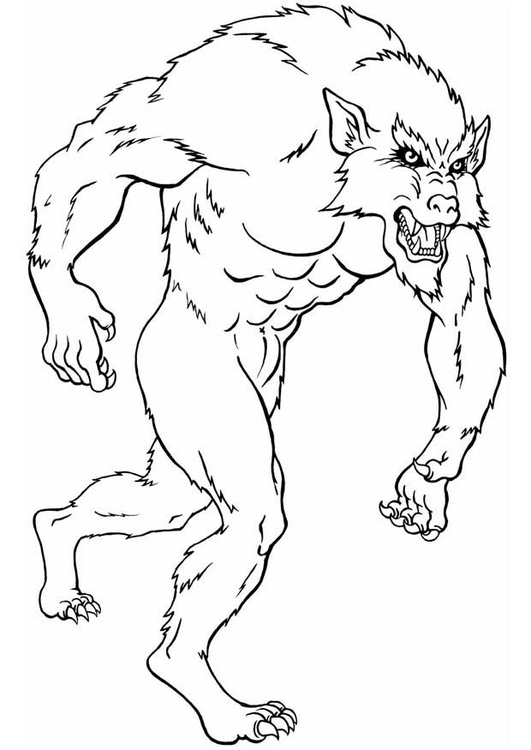 Coloring page werewolf